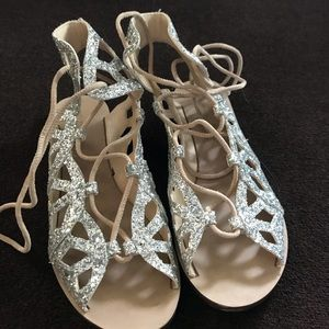 Zara Women Silver Glitter Gladiator Sandals